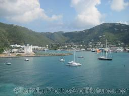 Hotel and sail boats at Tortola cruise port as viewed from catamaran.jpg